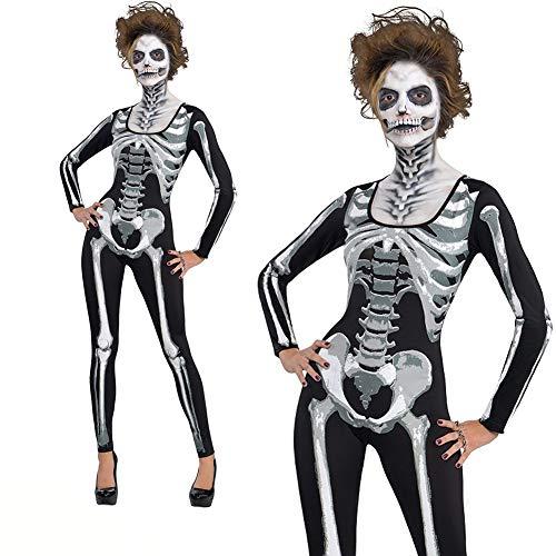 Wslora Skelett Kostüm für Erwachsene, langärmeliges Schlauchkleid, Legends of Evil, Halloween Kostüm Horror Skelett Overall Ghost Party Cosplay Kleidung,M (Skelett Für Erwachsene Kostüm Deluxe)