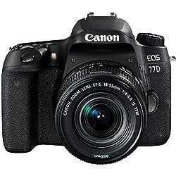Canon EOS 77D - Cámara réflex de 24.2 MP (vídeo Full HD, WiFi, Bluetooth) Negro - Kit Cuerpo con Objetivo EF-S 18-55 IS STM
