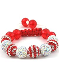 08-Ball Children Kids Girls Boys Petites Teen Double Row Red White/Multi-White Bead Shamballa Bracelet with Red Crystals on White/Red String Ideal Gift for Christmas Birthdays