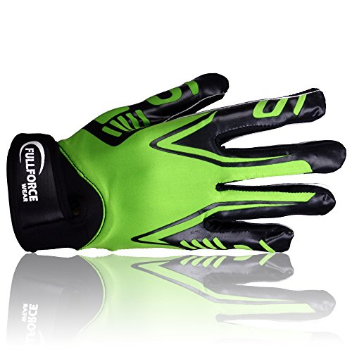 Full Force Titanium Lite American Football Receiver Handschuhe, neon grün, Gr. S-XL