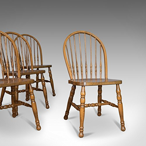 London Fine Antiques Conjunto de Cuatro sillas de Comedor, francés Windsor aro Stick-Back Madera de Haya, Siglo XX