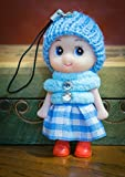 Baby Blue Doll Cute Boots & Skirt Wool Pompom Toy Charm Keyring Keychain Key Chain Soft Fluffy Cotton Knit Hat Gem Jumper Diamond D Dung D-Dung Sweet Unusual Innocent Hipster (Baby Blue)