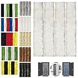 Flauschvorhang 90x200cm Insektenschutz Campingvorhang in Verschiedenen Farben, Auswahl: Unistreifen Weiß