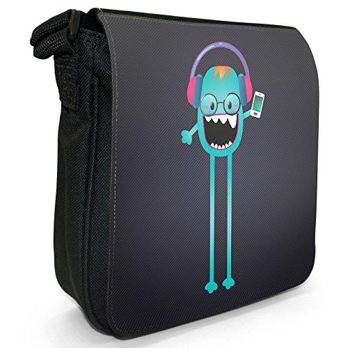 Funny Freak Hipster Trendy Monsters-Borsa a spalla piccola di tela, colore: nero, taglia: S Nero (Skinny Leg Music Mad Monster)