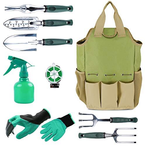 Garten Werkzeug Organizer Tasche mit 10 Stück Gartenwerkzeuge, Best Garten-Geschenk Set, Gemüse Garten-Werkzeug-Set, Garten-Hand Tools Set Tasche mit Garten Graben Claw Gartenhandschuhe