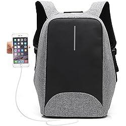 UBAYMAX Mochila Antirrobo USB Mochila de Seguridad, 15.6 Mochila para Ordenador Portátil, Regalo para Estudiantes/Hombre/Mujer, Mochila Bolsa Impermeable de Colegio Viaje Negocios (Gris-1)