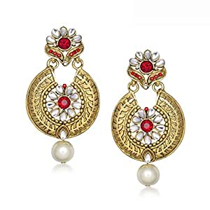 Meenaz Traditional Earrings Fancy Party Wear Kundan Moti Pearl Daimond Earrings For Women - T294