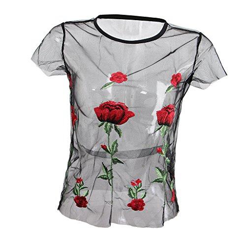 P Prettyia Camisa de Red Disfraz de Camisón Traje Superior Mujer De Moda Cabeza Punky Gótica - Negro, S