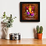 Story@Home Exclusive Frame Ganesha With Slog Paintings ||Ganesha Painting ||Ganesha Wall Paintings || Ganesha Poster || Ganesha Wall Poster || Ganesha Paintings Framed || Ganesha Painting With Frame || Framed Wall Art For Living Room And Bed Room Wooden Frame Size 30 cm x 3 cm x 30 cm, Special Effect Textured