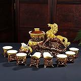 L Y Halbautomatisches Tee-Set Faules Kung-Fu-Tee-Set Brennofen Faules Luxusgeschenk,C