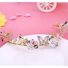 Bride cinturón de cerámica de aleación de oro de la corona flores semi - redonda de pelo con accesorios de la boda