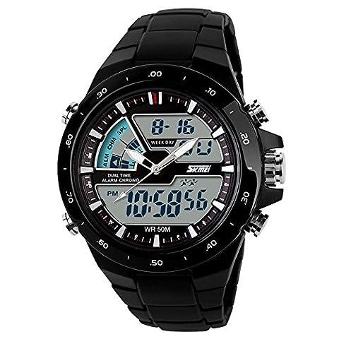 TTLIFE 1016 Mens Multifunctional Quartz Analog-Digital Display Dual Times Outdoor Sports Watch 50M Waterproof