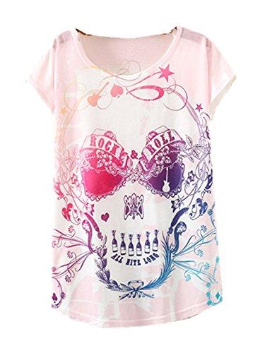 YICHUN Damen T-Shirt Mehrfarbig mehrfarbig One size Tête de Mort 13#