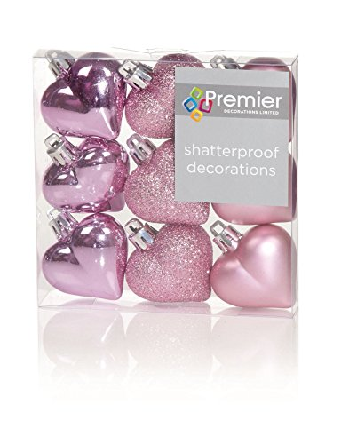 Décorations de Noël 9 pack 40mm multi finition babioles Coeur - Rose