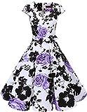 Dresstells Vintage 50er Swing Party kleider Cap Sleeves Rockabilly Retro Hepburn Cocktailkleider White Purple Flower 2XL