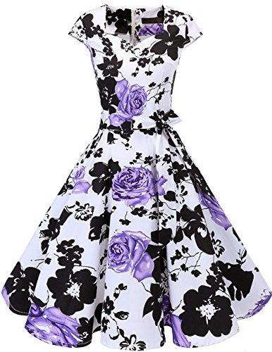 Dresstells Vintage 50er Swing Party kleider Cap Sleeves Rockabilly Retro Hepburn Cocktailkleider White Purple Flower XS Kurzes Kleid Vintage Rock
