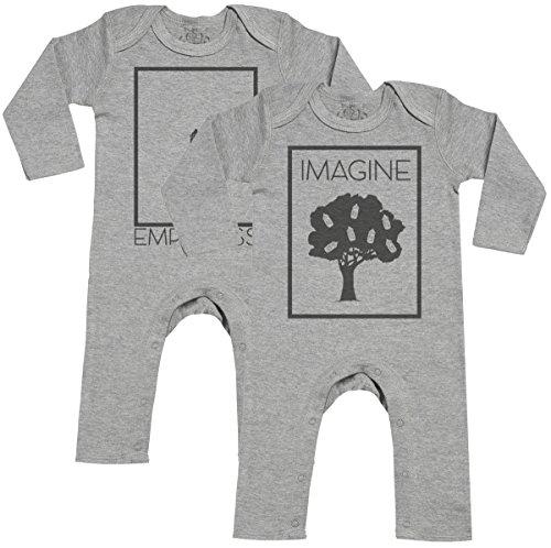 Imagine & Emptiness Footless - peleles gemelos bebé - ropa para gemelos bebé - regalo para gemelos bebé - Gris - 12-18 meses