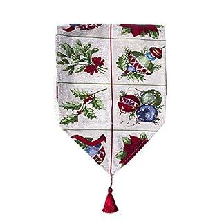 Nicedier-Tech Camino de Mesa de Navidad poliéster algodón con la impresión de la Bandera de la Tabla de Tela con patrón reticular linos de Tabla para Las Decoraciones de Navidad