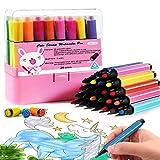 Magicdo 24 colori penne ad acquerello con timbri, pennarelli lavabili non tossici colorati per bambini da disegno, scarabocchiare e colorare (pink)