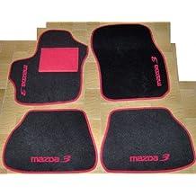 Mazda 3Alfombras sobre tamaño negro con borde rojo para coche, juego completo de moqueta y bordados a hilo rojo