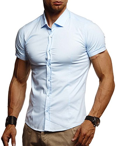 LEIF NELSON Herren weißes Hemd Slim Fit Kurzarm | Schwarzes Männer Stretch Kurzarmhemd Freizeithemd | Jungen Kurzarmshirt Sommerhemd Business T-Shirt Freizeit Party | LN3520 Hell Blau XX-Large