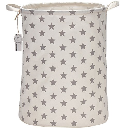 "Sea Team 19.7"" Large Sized Waterproof Coating Ramie Cotton Fabric Folding Laundry Hamper Bucket Cylindric Burlap Canvas Storage Basket with Stylish Grey Stars Design"