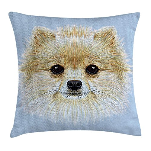 Jolly2T Animal Throw Pillow Cushion Cover, Funny Portrait of Pomeranian Dog Pet Fluffy Friendly Companion Love Graphic, Decorative Square Accent Pillow Case, 18 X 18 inches, Light Blue Cream