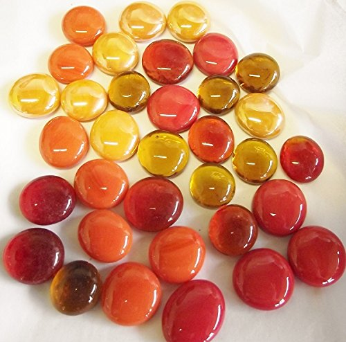 100 Glass Round Gems Pebbles Nuggets Mosaic Tiles 'Autumn/Fire Colours Mix' (opaque and transparent) 13-18mm