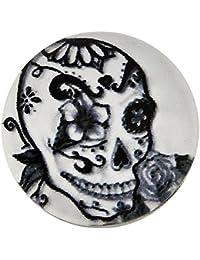 Morella unisex vidrio click-botón de calavera Diseño Art