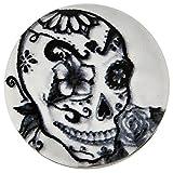 Morella Unisex Glas Click-Button Druckknopf Totenkopf Art Motiv