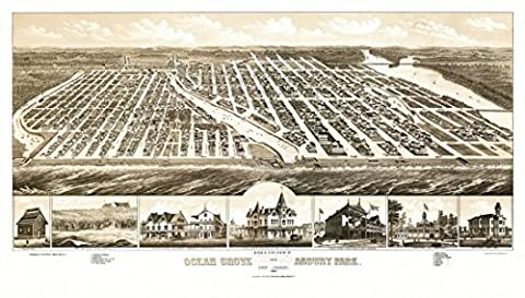 Antique Map of Ocean Grove New Jersey 1881 Monmouth County Fine Art Print (45.72 x 60.96 cm)