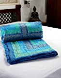 AASHISH CRAFTS Queen Size Printed Cotton Double Quilt Razai Duvet Comforter in Blue