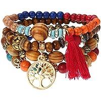 Mieoson Baum des Lebens Quasten Armbänder, Vintage hohlen Baum des Lebens elastische Perlen Armbänder Multilayer Quasten Charme Armbänder für Frauen by