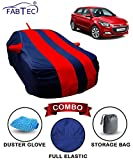 Fabtec Car Body Cover for Hyundai Elite I20 Red & Blue with Mirror Antenna Pocket, Storage Bag & Microfiber Glove Combo