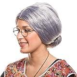 Großmutter Oma Granny Grandma Grauer Dutt Perücke Verkleidung Party Fasching Kostüm Accessoire