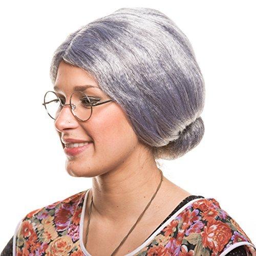 Alte Kostüm Oma - Balinco Großmutter Oma Granny Grandma Grauer Dutt Perücke Verkleidung Party Fasching Kostüm Accessoire