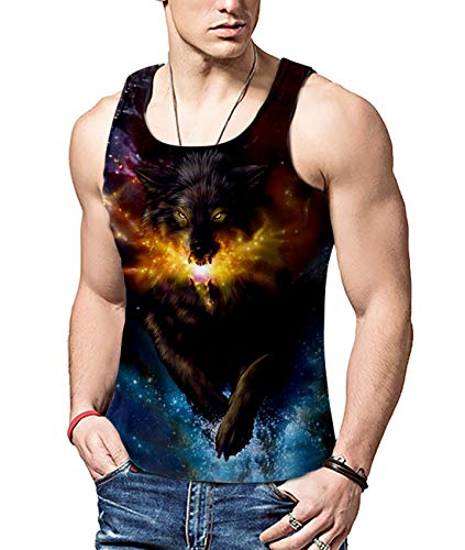 Workout Tank-top Shirt (ALISISTER Mens 3D Muster Galaxy Wolf Westen Fitness Workout Printed Tank Top Weste T-Shirt Sommer Gym Muskelshirt L)