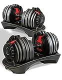Sportstech 2 Haltères réglables 15-en-1 AH200 système réglable innovant de 2 x 2,5 kg - 24 kg, 2 x 15 haltères en deux, courroie dentée de sécurité, poignée antidérapante, incl. Barres pour haltère