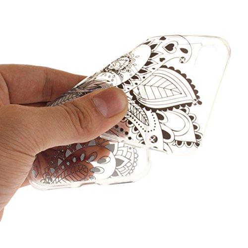 "Coque iPhone 7 Apple ,iPhone 7 Silicone Case Rosa Schleife® Ultra Mince Souple TPU Silicone Gel housse de protection Etui antichoc Etui pour Apple iPhone 7 (4.7"") -Mandala Brun Style-e"