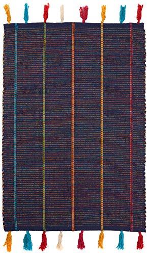 chickidee Homeware pequeño Tejido a mano algodón alfombra con flecos, color azul marino