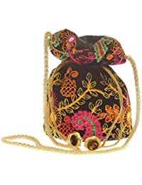 Envie Cloth/Textile/Fabric Embroidered Black & Multi Potli Bag For Women