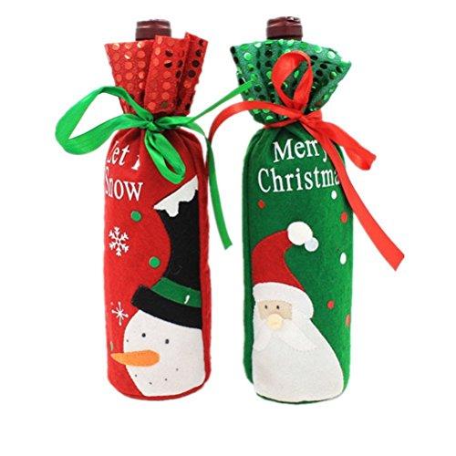 Ruikey cena di natale con bottiglia di vino bag santasnowman candy gift bag champagne wrap per festa ristorante decorazione da tavolo per 1paio, red and green, 30*12.5cm