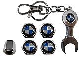 Valvulas de acero inoxidable para coche + llavero BMW azul aut011-28