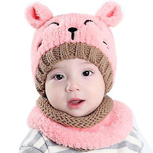 Baby Strickmütze und Schal Set, Kfnire Kinder Winter warme Schal Hüte Mützen (rosa)