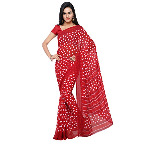 GoodFeel Polka Dot Print Fashion Georgette Saree For Women (Luv-Red_Red)  available at amazon for Rs.530