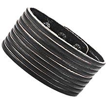 Vintage de cuero trenzado Estilo Negro Brazalete Muñequera brazalete de la manera (23.8 cm, de tamaño variable)