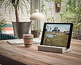 WOOD U? Style - Halterung für iPad und Tablets aus Beton mit schöner Holzleiste (Eiche)