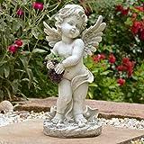 INtrenDU Engel Figur mit Weinreben 44cm Wetterfest Statue ALS Dekoration für Wohnung Garten Balkon oder Badezimmer Grabschmuck Grabengel Deko