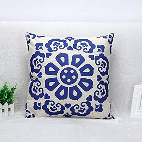 JeremyArtStore 18 x 18 Inches Decorative Cotton Linen Square Throw Pillow Case Cushion Cover Grille Pattern Design