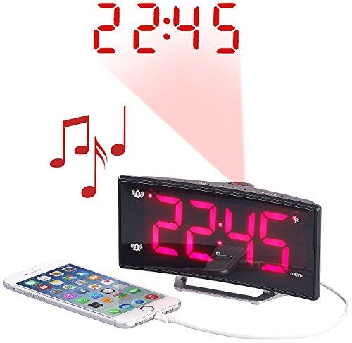 auvisio Wecker mit Dualalarm: Projektions-Radiowecker mit Curved-Display, Dual-Alarm & USB-Ladeport...
